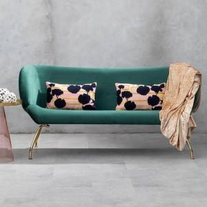 Kolding Green Fabric and Gold Finish Metal 2 Seat Winged Back Sofa