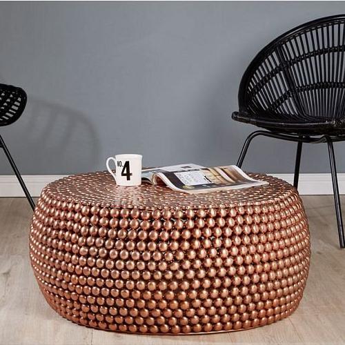 Templar Copper Finish Iron Round Beaded Coffee Table