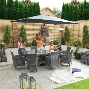 Nova Garden Furniture Amelia Grey Oval 8 Seat Dining Set