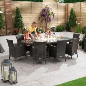 Nova Garden Furniture Amelia Grey Oval 8 Seat Dining Set with Firepit