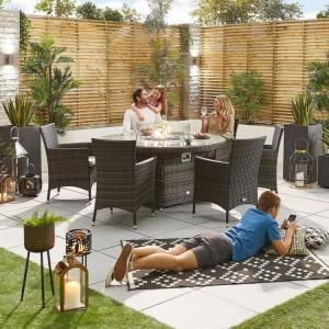 Nova Garden Furniture Amelia Brown Round 6 Seat Dining Set With Firepit