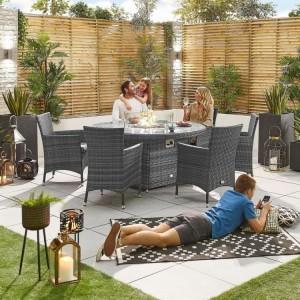 Nova Garden Furniture Amelia Grey Round 6 Seat Dining Set With Firepit