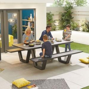 Nova Garden Furniture  Anzio Grey Aluminium Bench
