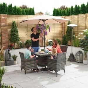 Nova Garden Furniture Amelia Brown Square 4 Seat Dining Set