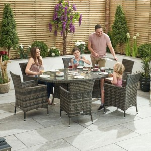 Nova Garden Furniture Amelia Brown Oval 6 Seat Dining Set With Ice Bucket