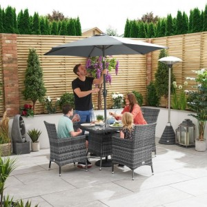 Nova Garden Furniture Amelia Grey Square 4 Seat Dining Set