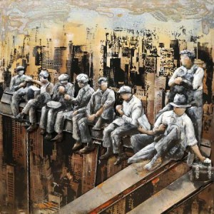 3D Metal Construction Workers In Manhattan Handcrafted Painting