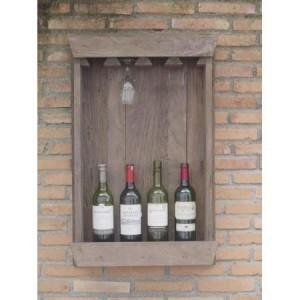Mango Wood Display Bottle Rack Holds 4 Bottles and 4 Glasses