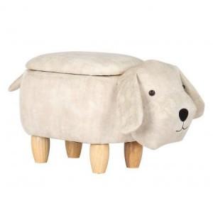 Animal Ottomans Off White Dog Storage Footstool