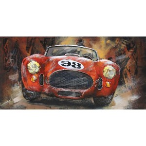 3D Metal Classic Red Racing Car Handcrafted Painting