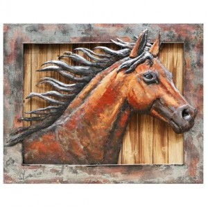 3D Metal on Wood Wild Horse Handcrafted Painting
