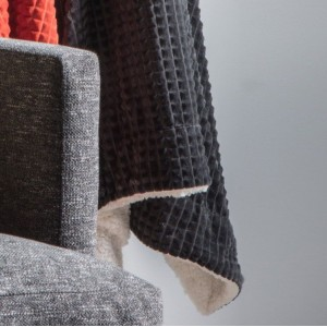 Cubic Embossed Charcoal Grey Sherpa Throw