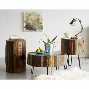 Reclaimed Wood Hand Crafted Coastal Drum Side Table