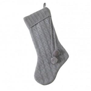 Pompom Knitted Grey Stocking