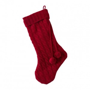 Pompom Knitted Red Stocking