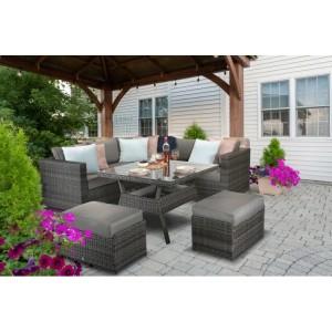 Signature Weave Garden Furniture Georgia Grey Corner Dining Set with Stools - PRE ORDER