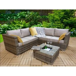 Signature Weave Garden Furniture Georgia Corner Sofa Set with Coffee Table & Ice Bucket