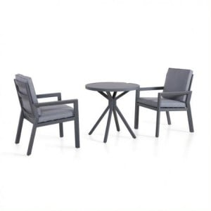 Maze Rattan Garden Furniture New York 2 Seat Grey Bistro Set
