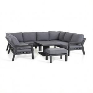 Maze Rattan Garden Furniture New York U Shaped Sofa Set with Rising Table