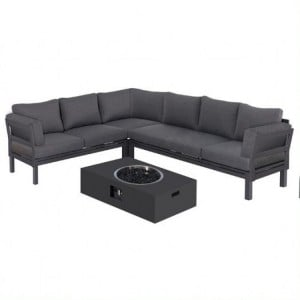 Maze Lounge Outdoor Fabric Oslo Charcoal Corner Group with Rectangular Gas Fire Pit Table