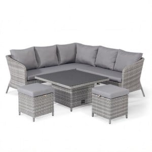 Maze Rattan Garden Furniture Santorini Square Corner Dining Set with Rising Table