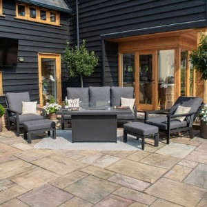 Maze Lounge Outdoor Fabric Manhattan Charcoal Reclining 3 Seat Sofa Set with Fire Pit Table & Footstools