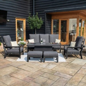 Maze Lounge Outdoor Fabric Manhattan Charcoal Reclining 3 Seat Sofa Set with Rising Table & Footstools