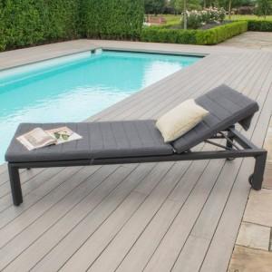 Maze Lounge Outdoor Fabric Manhattan Charcoal Sunlounger