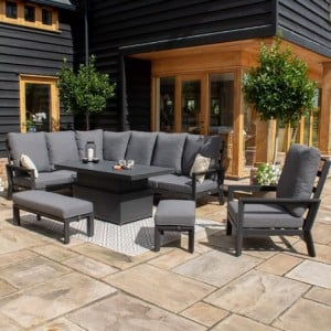 Maze Lounge Outdoor Fabric Manhattan Charcoal Reclining Corner Dining Set with Rising Table and Armchair