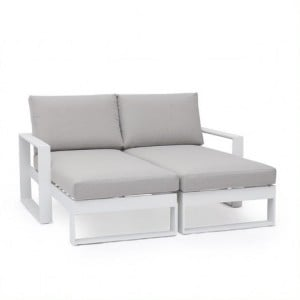 Maze Lounge Outdoor Fabric Amalfi White Double Sunlounger with Side Table