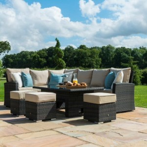 Maze Rattan Garden Furniture Deluxe Kingston Brown Corner Dining Set with Rising Table