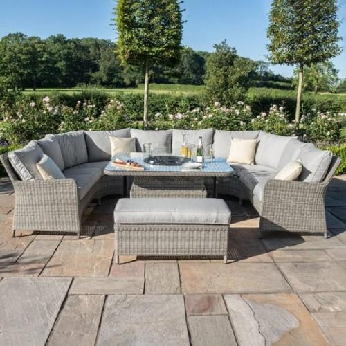 Maze Rattan Garden Furniture Oxford Royal U Shaped Sofa Set with Fire Pit