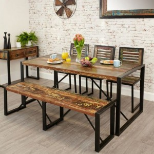 New Urban Chic Furniture 180cm Dining Table & Two Large Dining Bench Set