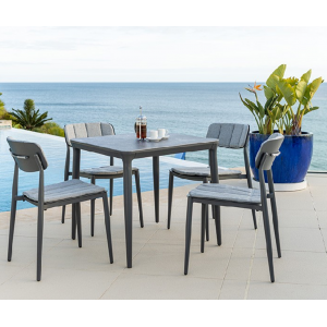 Alexander Rose Garden Furniture Rimini Square Table with  Stacking Side Chair