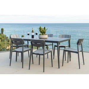 Alexander Rose Garden Furniture Rimini Rectangular Table with  Stacking Side Chair