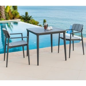 Alexander Rose Garden Furniture Rimini Grey Aluminium Square Table with Stacking Armchair