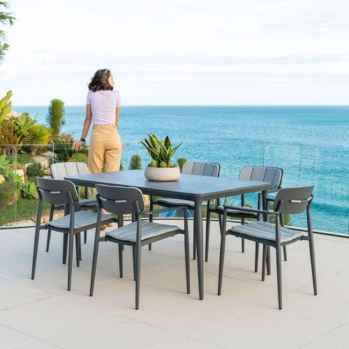 Alexander Rose Garden Furniture Rimini Rectangular Table with  Stacking Armchair