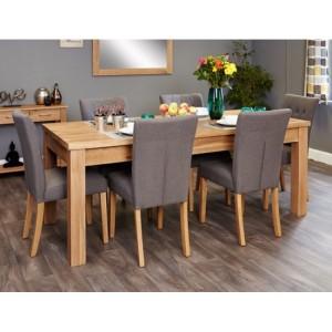 Mobel Oak Furniture Extending Eight Seater Dining Table & Grey Set