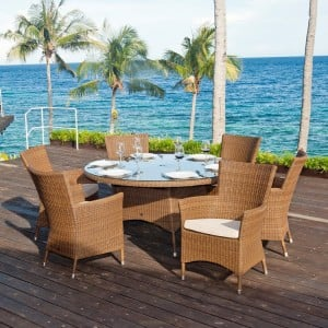 Alexander Rose San Marino 4 Carver Seat Chair Round Rattan Dining Set