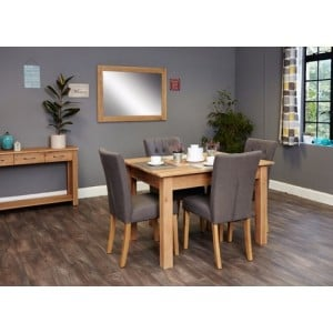 Mobel Oak Furniture Four Seater Dining Table & Grey Chair Set