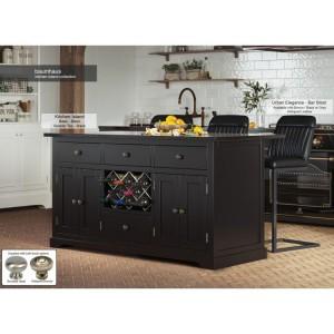 Baumhaus Furniture Black Kitchen Island With Black Granite Worktop