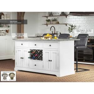 Baumhaus Furniture White Kitchen Island With Grey Granite Worktop