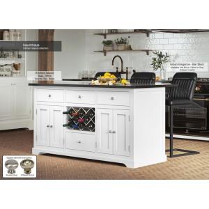 Baumhaus Furniture White Kitchen Island With Black Granite Worktop
