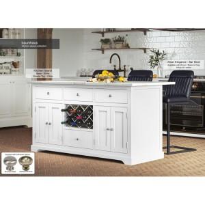 Baumhaus Furniture White Kitchen Island With White Granite Worktop