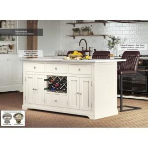 Baumhaus Furniture Cream Kitchen Island With White Granite Worktop