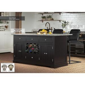 Baumhaus Furniture Black Kitchen Island With Grey Granite Worktop