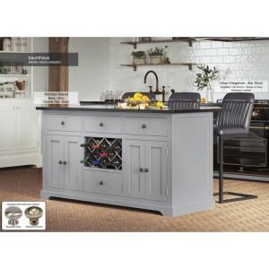 Baumhaus Furniture Grey Kitchen Island With Black Granite Worktop