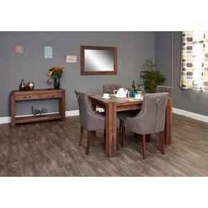 Mayan Walnut 4 Seater Dining Table & 4 Upholstered Chairs Set