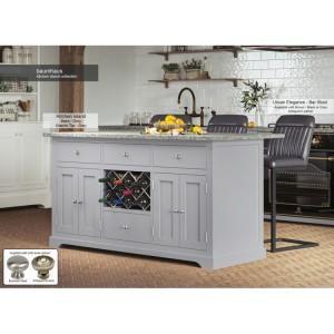 Baumhaus Furniture Grey Kitchen Island With Grey Granite Worktop
