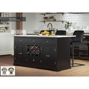 Baumhaus Furniture Black Kitchen Island With White Granite Worktop
